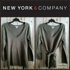 New York and Company Grey Belted V Neck Sweater